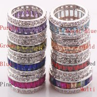 Wholesale garnet crystals ring for sale - Group buy Garnet Morganite Pink Kunzite Blue Crystal Zircon Sterling Silver Ring Size