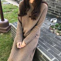 elbise kış yağ kadın toptan satış-Küçük Yağ Kardeş Sonbahar Kış Net Kırmızı Örme Alt Elbise Elbise Büyük Boy Kadın Yaş Gösterisi Ince Uzun Saç Elbise Diz Üzerinde S19801