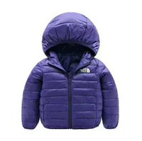 Wholesale Ultra Light Boys Down Jacket For Girls Cotton Jacket Coat For Girls Solid Autumn Winter Warm Children Coat Boy Girls Clothes SIZE CM