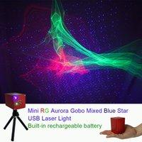 blaue stative großhandel-Sharelife Portable RG Hypnotisch Aurora Blue Star Laser Projektor Licht Batterie Stativ USB DJ Party Outdoor Gig Bühnenlichteffekt DP-AS100