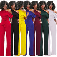 Wholesale yellow elegant jumpsuit resale online – Women One Shoulder Jumpsuits Romper Overall Sexy bodycon tunic Jumpsuit for party elegant Wide Leg Pant body solid playsuit LJJA2579