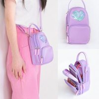 Wholesale cross body wallet purse pink for sale - Group buy Girls Heart Zipper Shoulder Bag Sweet Crossbody Bag Women Letters Phone Handbag Cute Purse Wallet LLA170