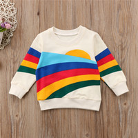 ropa de rayas de arco iris al por mayor-2018 Brand Toddler Baby Girls Kid Shirt Clothes Rainbow Striped Sweatshirt Top Clothes Cotton Warm Pullover Ropa suave 1-6Y