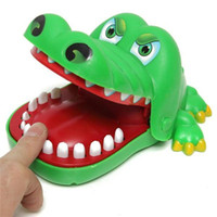 juguetes para amordazar la boca al por mayor-Venta caliente Morder cocodrilo Creativo Tamaño Grande Cocodrilo Boca Dentista Mordida Dedo Juego Divertido Gags Juguete Para Niños Jugar divertido