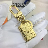 Wholesale personalize keychains resale online - Top Quality gold letter Keychain Bag Pendant Send As Shown Gift Box Personalized Keychain Simple Fashion charm keychains with box