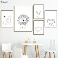 Wholesale lion room decor for sale - Group buy Lion Bear Raccoon Wall Art Canvas Painting Nordic Posters And Prints Nursery Wall Pictures For Baby Girl Boy Room Decor