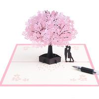 carton rouge de chine achat en gros de-Sakura Arbre Cartes De Voeux 3D Invitation Stéréoscopique Carte Manuel Papier Sculpture Fleur Jardin Romantique Fête De Mariage Fournitures