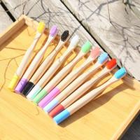 bambu tutamaklı fırçalar toptan satış-Çocuk Bambu Diş Fırçası Yuvarlak Kolu Tek Kullanımlık Diş Fırçaları Kutusu Ile Doğal Bambu Fırça Seyahat Ağız Hijyeni Otel Malzemeleri GGA2475