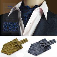 gemusterte paisley-blumenbindung groihandel-SHENNAIWEI britischen Stil Plastron hohe Qualität Männer Retro-Muster Hemd Großes Halstuch Paisley Blumen Cravat Jacquard