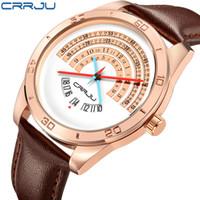Wholesale binary black watches for sale - Group buy CRRJU Men luxury Sports leather Watches Male Funny Binary calendar Clock Japan Movement Waterproof Wrist Watch erkek kol saati