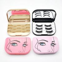 Wholesale mini false eyelashes resale online - Travel Mini False Eyelash Box Bowknot Plastic Pure Color Collapsible Tape Division Dressing Case High Grade Storage Bags PPA422