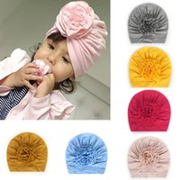 Wholesale newborn beanie flower for sale - Group buy 8 Colors Baby Turban Hats for Girls Bloom Flower Baby Hats Kids Elastic Baby Turban for Girls Headwrap Infant Headband Beanie Cap M1912