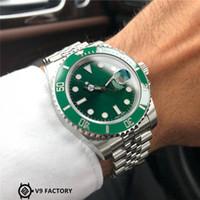 luxus blaue gesicht uhren großhandel-Armbanduhren Green Face Luxusuhr Super Copy V9 grünes Gesicht blau Gossamer 3135 Bewegung und 904L Stahl Herrenuhren