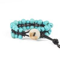 europa-perlen-art und weisearmband großhandel-Mode europa und amerika manuelle wachs seil weben perlen perlen schmuck natürliche zweireihig lan songshi armband yoga energie armband