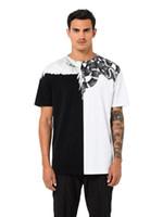белые хлопчатобумажные ткани оптовых-Мар весна лето новая модная мужская футболка с хлопчатобумажной тканью, дышащей комфортной змеей и узором из белых перьев
