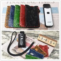 Wholesale leather case for pens resale online - E cigarette holster for SMOK NORD cases MM leather case for smok novo nord vape pen necklace carrying bag pouch holder black amber