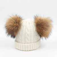 Wholesale cap fur ball top for sale - Group buy Winter Baby Beanies Wool Boys Girls Hats Real Raccoon Knitted Hat Fur Pom Pom Ball Caps Children Hats Kids Warm Beanie Cap