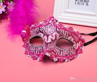 Wholesale pink feather mask for sale - Group buy Wholesales Explosion Halloween masquerade Venice patch painted princess party mask Christmas mask