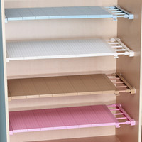 Wholesale bathroom wall clothing resale online - Scalable Widening Iron Plastic Shelf Pink Blue Home Convenient Practical Storage Neatening Nailing Free Bedroom Wardrobe Clapboard mj6D1