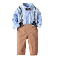 свадебный мальчик оптовых-Baby Boys Fashion Suits Print T-shirt Romper Strap Pants Wedding Suit Formal Party Kid Gentleman Set 6M-3Y