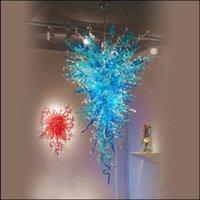 araña decorativa grande al por mayor-Tiffany Lámparas colgantes Lámparas de araña de cristal de Murano Decoración de sala de estar Grandes y lujosas 110-220C Lámparas de arte decorativas personalizadas Decoración de interiores para el hogar