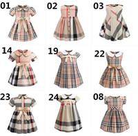 sevimli yay şortları toptan satış-25 Stilleri Bebek Kız Ekose Elbise 2019 Yeni Stiller Çocuk Kız Sevimli Bebek Yaka Kısa Kollu Ekose Yay Elbiseler Moda Elbise B11