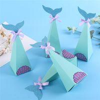 çanta hediye paketi kağıdı toptan satış-Küçük Denizkızı Hediye Kutuları Tatlı Kağıt Şeker Kutusu Çocuk Duş Doğum Günü Ambalaj Çanta Düğün Parti Şeker Torbaları Parti Favor kağıt Kutusu 5057