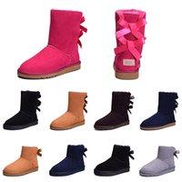 mädchen rosa schnee stiefel großhandel-UGG Günstige Frauen Winter Schnee Stiefel Mode Australien Klassische Halbe kurze bogen stiefel Ankle Knie Bowknot mädchen dame Rosa Rot Grau Boot