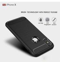 cubierta de goma trasera móvil al por mayor-Nuevo estuche de fibra de carbono funda protectora de goma suave a prueba de choques de la armadura del teléfono móvil para iphoneX / Xr / Xs / Xs Max / Samsung S10 S10e