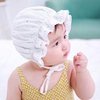 ingrosso cappelli di beanie del bambino del cotone bianco-New Baby Berretto unisex Berretto da bambino Beanie Boy Girl Ruffles Lace Star Stampa in cotone bianco morbido cappello carino