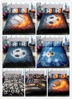 Wholesale 3d pillowcase for sale - Group buy 3D Fire Football baseball basketball Printing sports bedding sets with pillowcases