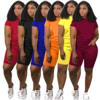 Wholesale plus size clothes piece online - Women Designer Tracksuits Two Piece Outfits Womens Designer t Shirts Tops Shorts Clothing Sportswear Brand Clothes Suit Plus Size A41905