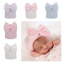 Wholesale crochet bow hat resale online - Newborn Big Bow Hats Baby Crochet Knit Caps Infant Skull Beanie Winter Warm Striped Ribbon Bowknot Tire Cap style RRA2224
