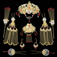 Wholesale coronet costume resale online - GZC8 A Set New Bride s Headwear Golden Costume Headdress Chinese Phoenix Coronet Hair Ornament Cheongsam Dress Tiara