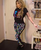 xl damgası toptan satış-2019 Yaz sıcak Avrupa ve Amerikan kadın yeni seksi baskı sıcak damgalama spor pantolon takım elbise dikiş baskı iki parça ücrets ...