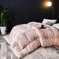 Wholesale goose down bedding resale online - down high grade stereo winter comforter warm thicken velvet quilt bedding printed duvet x230 x240cm queen king size