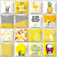Wholesale navy blue decor for sale - Group buy Pillow Case Yellow Geometric Pineapple Glitter Polyester Sofa Decorative Cushion Cover for Home Decor x45cm Yellow peach velvet pillow