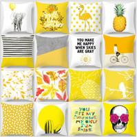Pillow Yellow case Geometric Pineapple Glitter Polyester Sofa Decorative Cushion Cover for Home Decor 45x45cm peach velvet pillowcase