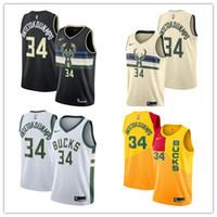 Wholesale black basketball jersey free shipping resale online - 2020 Mens New City Edition Jersey NBA basketball Milwaukee Bucks Jersey Giannis Antetokounmpo black Jersey