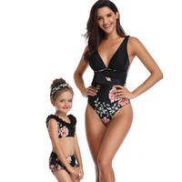 Wholesale black woman one piece swimsuit for sale - Group buy Boutique Family Women Girl Swimsuit One piece Floral V neck Bow waist Cute Girl Bathing suit Hot selling