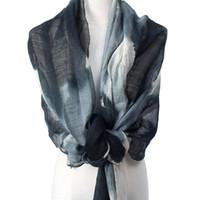 echarpe blanche fine achat en gros de-2019 commerce extérieur soie laine foulard dames mince section été châle encre impression noir et blanc fabricants de crème solaire cadeaux