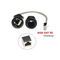 katze 5e lan kabel groihandel-Wasserdicht CAT5E RJ45 Gland Connector Ethernet LAN Schwarz IP68 Schutzart M20 CAT 5E RJ 45 Stecker auf Buchse AP Außenkabel