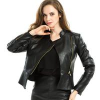 Zipper Tunika Armee Jacke Mäntel der Frauen beiläufige Damen Herbst Lederjacken Zip Up Biker Coats Flug Kleidung Thin Schaffell Top