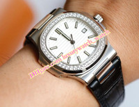 Wholesale mens black platinum watch resale online - New Style New Mens Automatic Movement Cal SC Date Diamond Bezel Men Eta A Platinum Watches Leather Strap mm