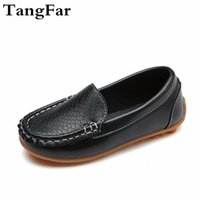 Wholesale child leather loafers for sale - Discount Boys Girls PU Leather Moccasins Comfortable Children Anti slip Loafers Black White Toddler Flats Heel Shoes