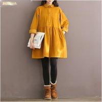 camisa de veludo amarelo venda por atacado-Collar alta Vintage Qualidade Corduroy Mulheres Vestido manga comprida Peter Winter Mori Amarelo Pan Red Autumn shirt Vestidos Vestidos