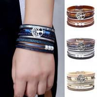 bracelet d'enveloppe d'arbre achat en gros de-2020 Mode Creux Arbre de Vie En Cuir Manchette Bracelet Perle Magnifique Wrap Bracelets Bohème Bijoux pour Femmes, Filles Cadeau De Noël M589F