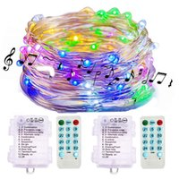 Wholesale christmas lights batteries timer resale online - Sound Activated Music Fairy Lights Battery Operated Ft LED Waterproof Wire Fairy String Lights with Remote Timer for Bedroom Wedding