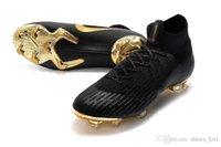 cr7 botas de fútbol negro oro al por mayor-Original Mercurial Superfly Negro Oro CR7 FG Zapatos de fútbol Botas de fútbol de primera calidad Calidad superior
