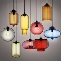 vitray avizeleri kolye lambaları toptan satış-Modern avizeler Vitray Kolye Işıkları Renkli Asılı Lamba Yemek Odası Mutfak Ev Armatürleri için Loft Hanglamp Endüstriyel Dekor